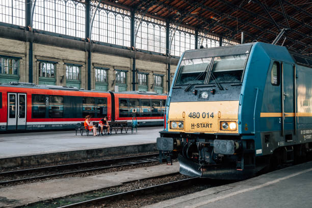 Budapest-Nyugati railway station platform in Budapest, Hungary stock photo