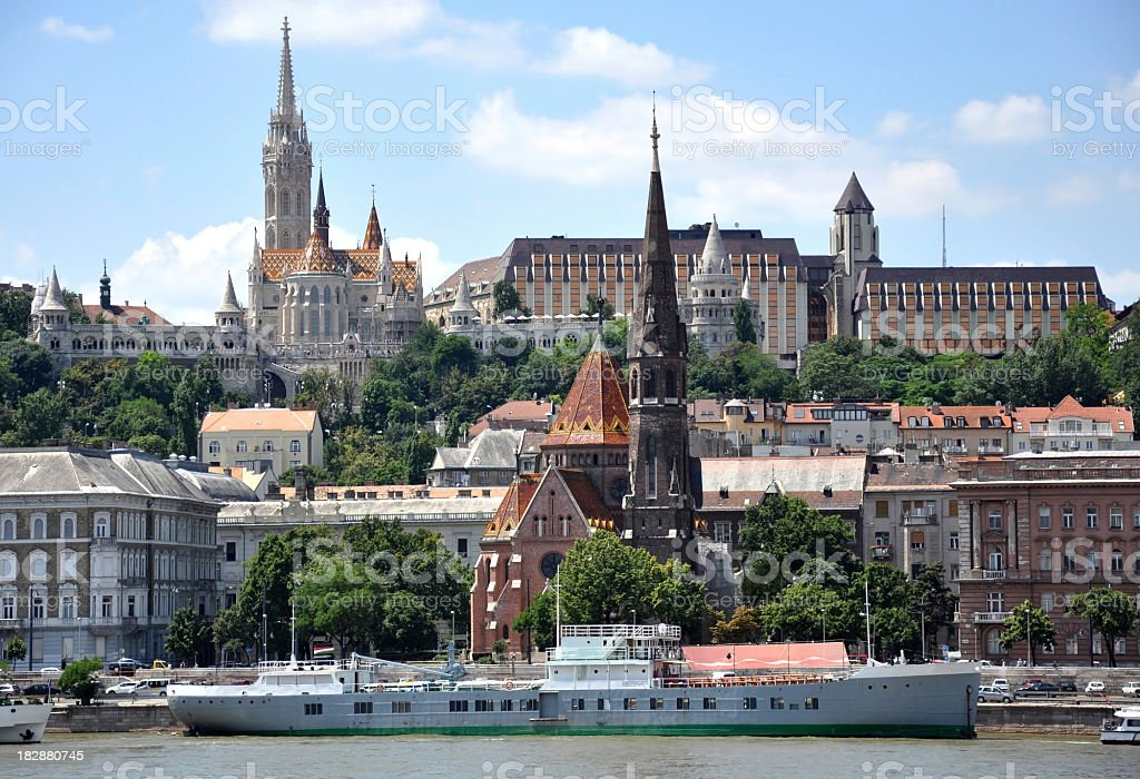 Budapest's skyline on a sunny day, Hungary stock photo