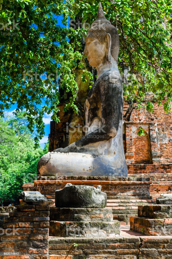 Buddha, a beautiful ancient site in Wat Maha That Ayutthaya as a world heritage site, Thailand stock photo