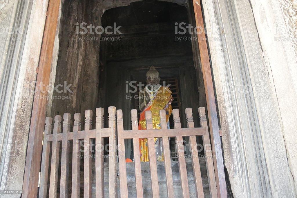 Buddha at Angkor Temple stock photo