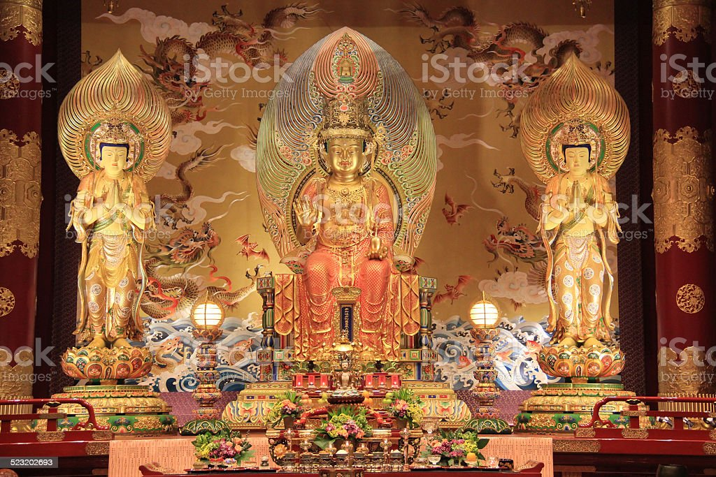 Buddha at the Buddha Tooth Relic Temple in Singapore stock photo