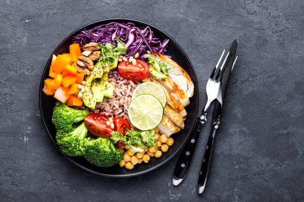 Bouddha bol plat avec filet de poulet, riz brun, avocat, poivron, tomate, brocoli, chou rouge, pois chiche, salade de laitue fraîche, noix de pin et noix. Healthy équilibré manger. Vue de dessus - Photo