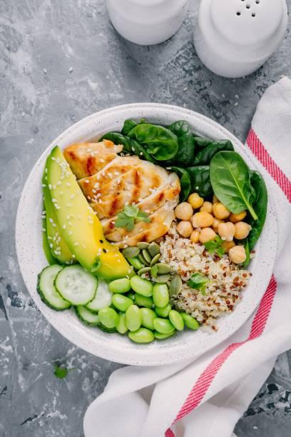 Bouddha bol salade aux épinards, quinoa, pois chiches rôtis, poulet grillé, avocat, haricots edamame, concombres, graines de sésame et de citrouille. - Photo
