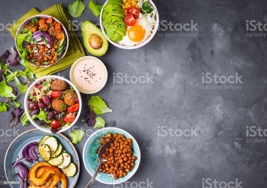 Buddha bowl salads background stock photo