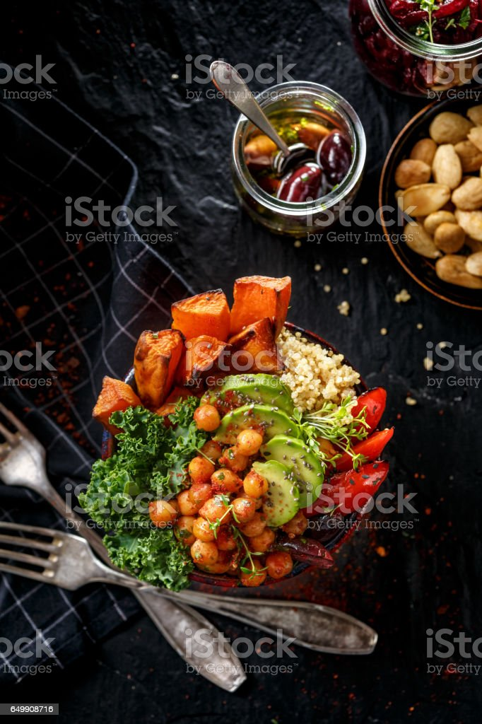 Buddha bowl, the concept of healthy diet, black background stock photo