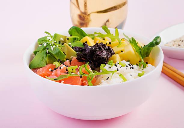 Buddha-Schale mit Reis, Mango, Avocado und Lachs. Gesundes Lebensmittelkonzept. – Foto