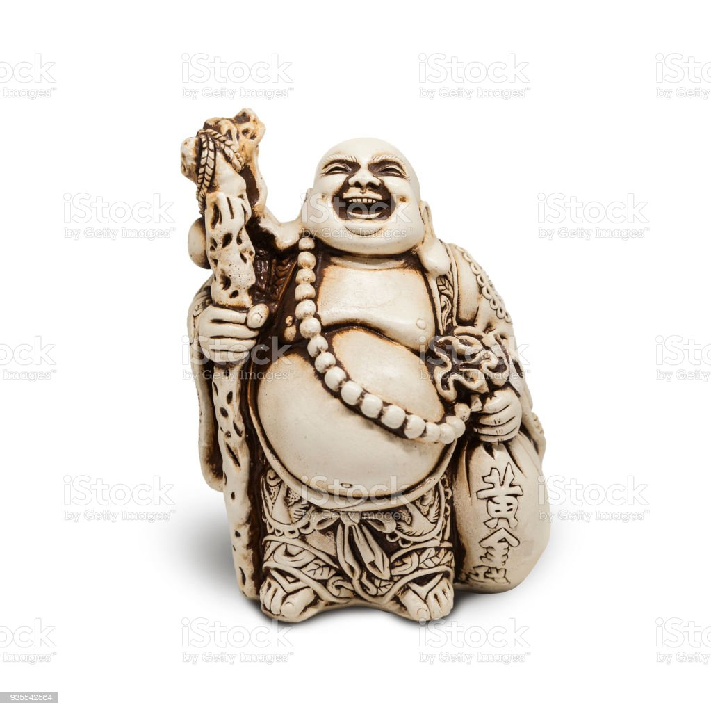 Buddha decorative figurine, monk, isolated on white background stock photo