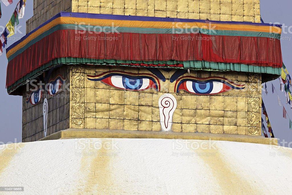 Buddha  eyes on a Boudha Nath (Bodhnath) stupa stock photo
