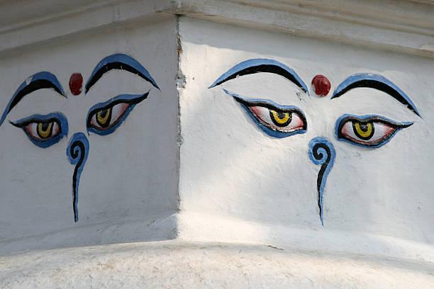 Buddhas Augen auf den weißen Hintergrund – Foto