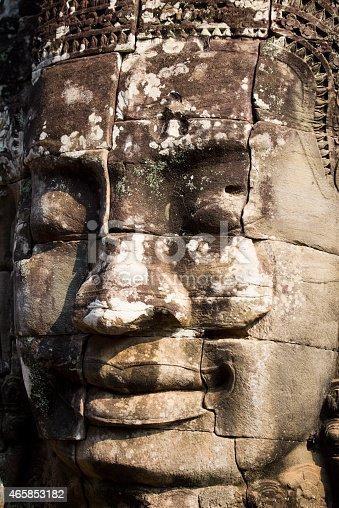 Giant Buddha face at Bayon temple, Angkor Wat, Cambodia.