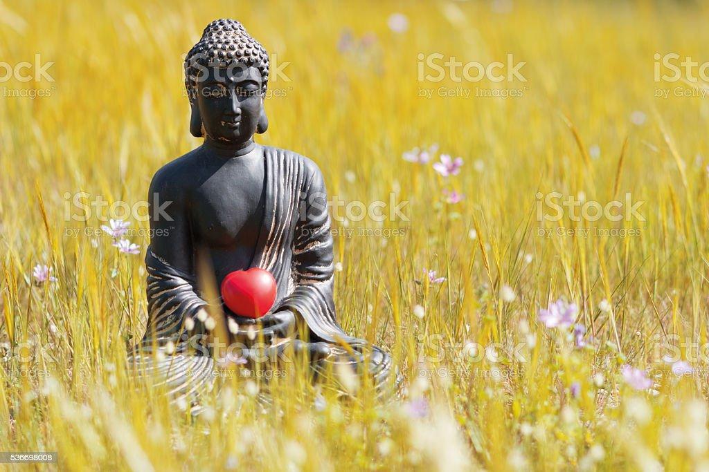 buddha figurine meditating in flower meadow with heart stock photo