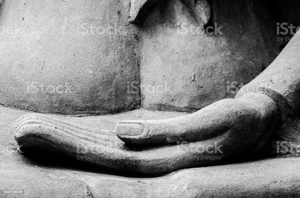 Buddha Hand and Buddha Statue at Ayutthaya city stock photo