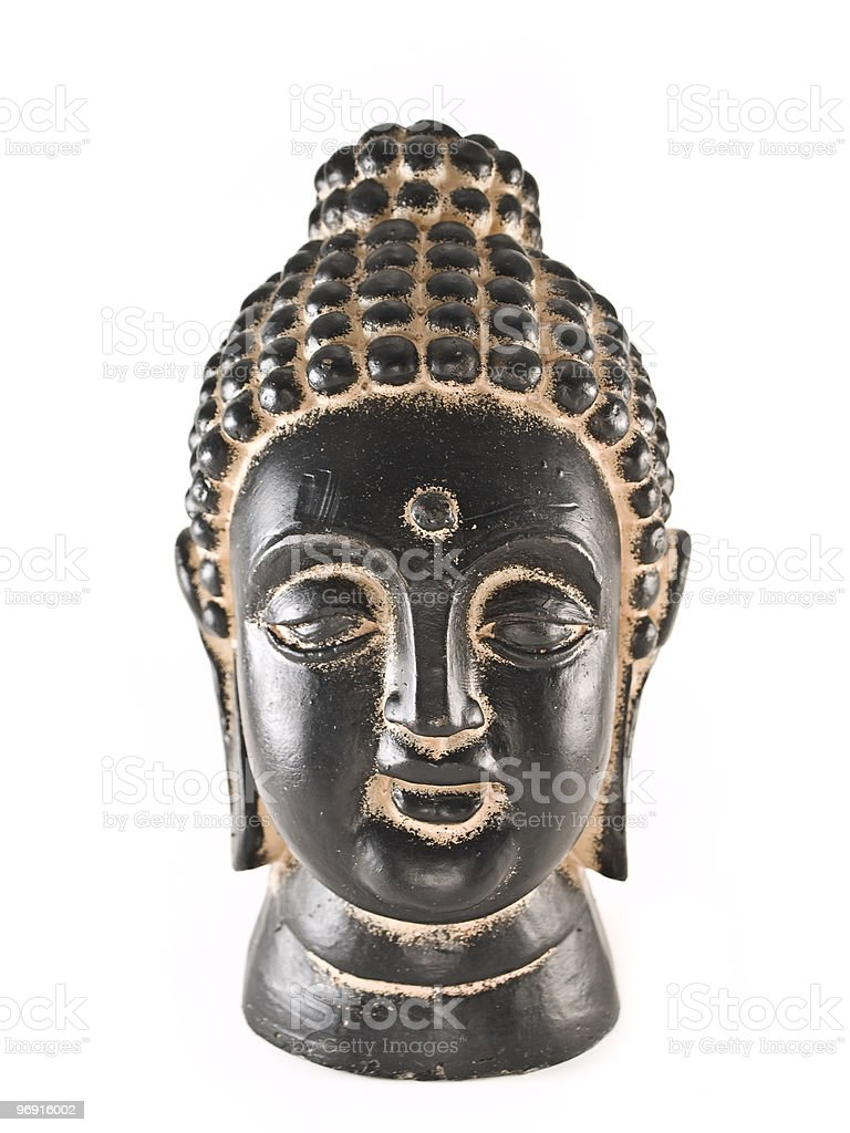 buddha head in black and gold royalty-free stock photo