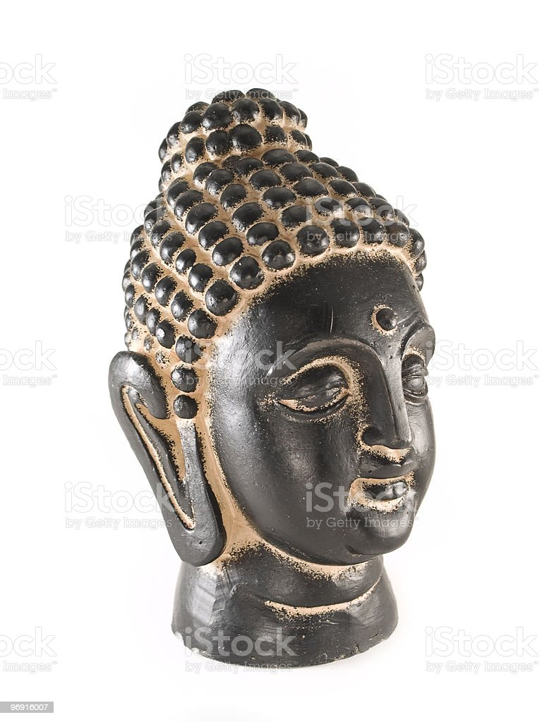 buddha head in black and gold, side view royalty-free stock photo