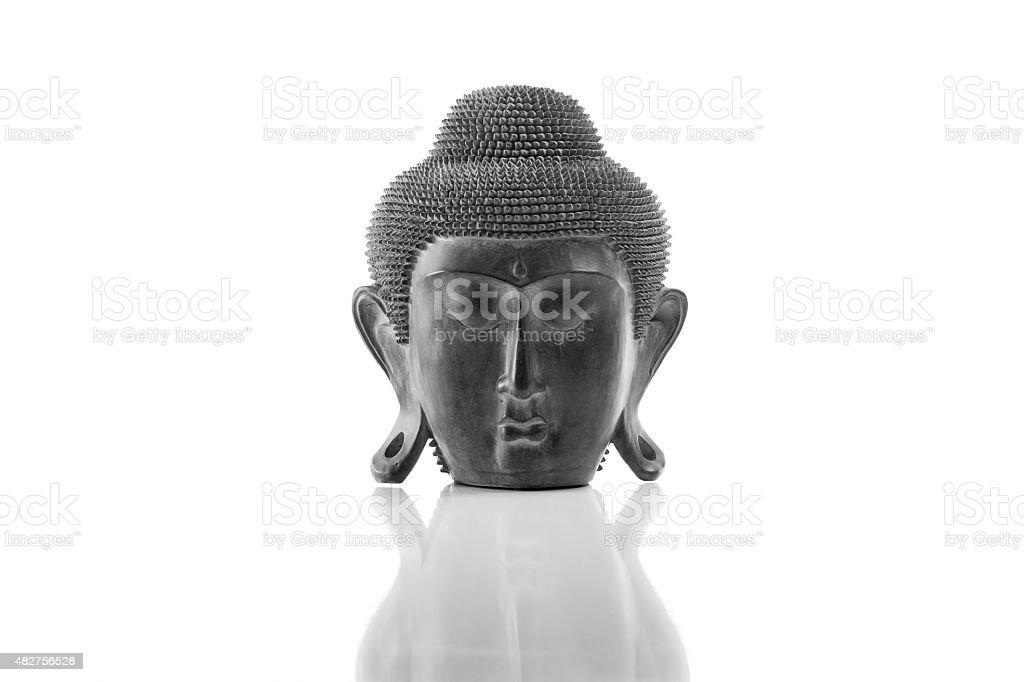 Buddha head on a white background stock photo