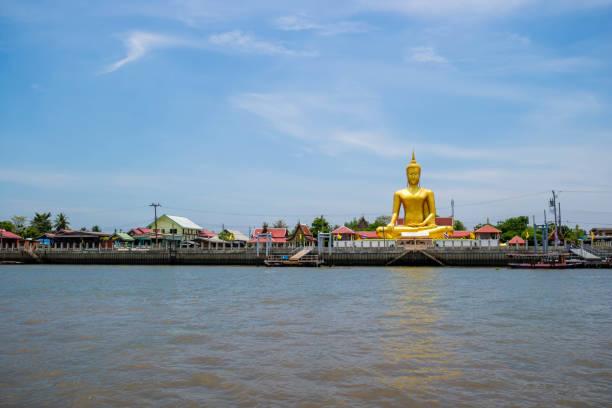 Buddha image and temple Bangkok Thailand stock photo