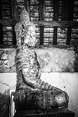 Buddha image in the temple, The art in the period of Ayutthaya at Wat Bot Phatumtanee Thailand, February 17, 2019