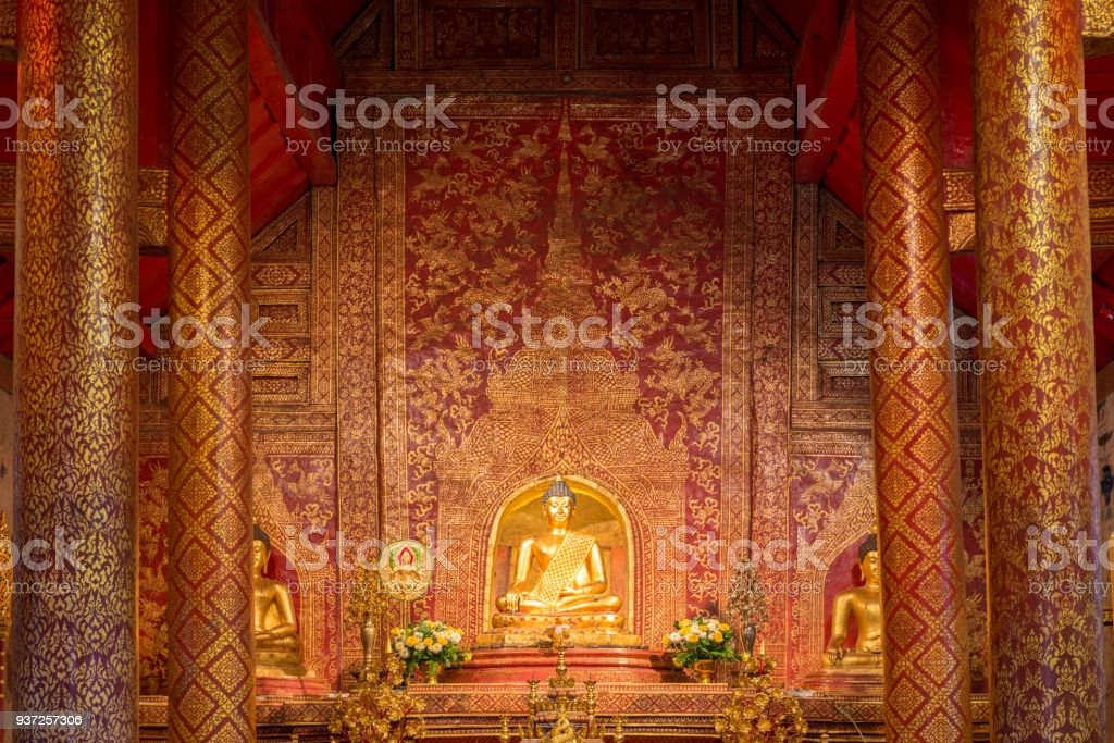 Buddha image inside the hall in Wat Phra Singh in Chiangmai. Thailand. stock photo