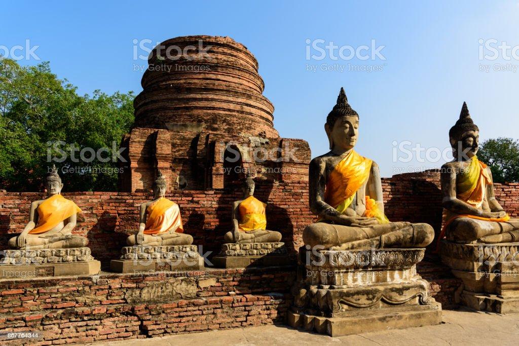 Buddha images at Wat Yai Chai Mongkhon, Ayutthaya, Thailand stock photo