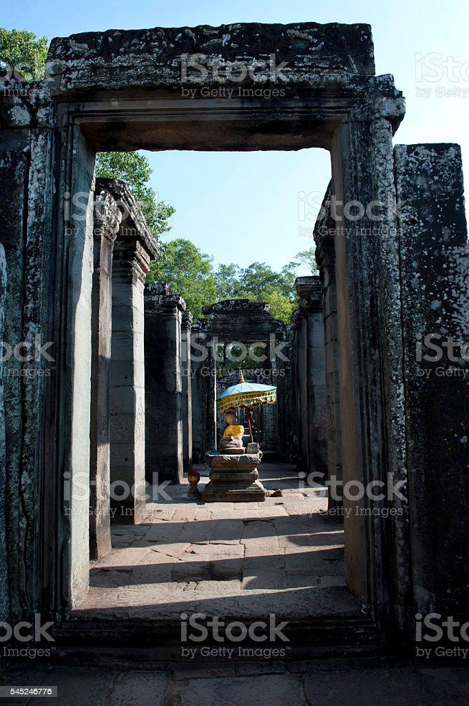 Buddha in Bayon Temple, Angkor Thom, Cambodia stock photo