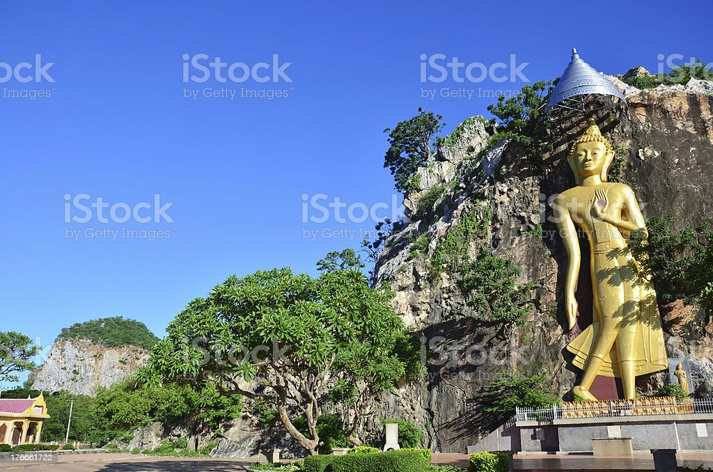 Buddha in cave  at Khao Ngoo Rock Park Ratchaburi Thailand royalty-free stock photo