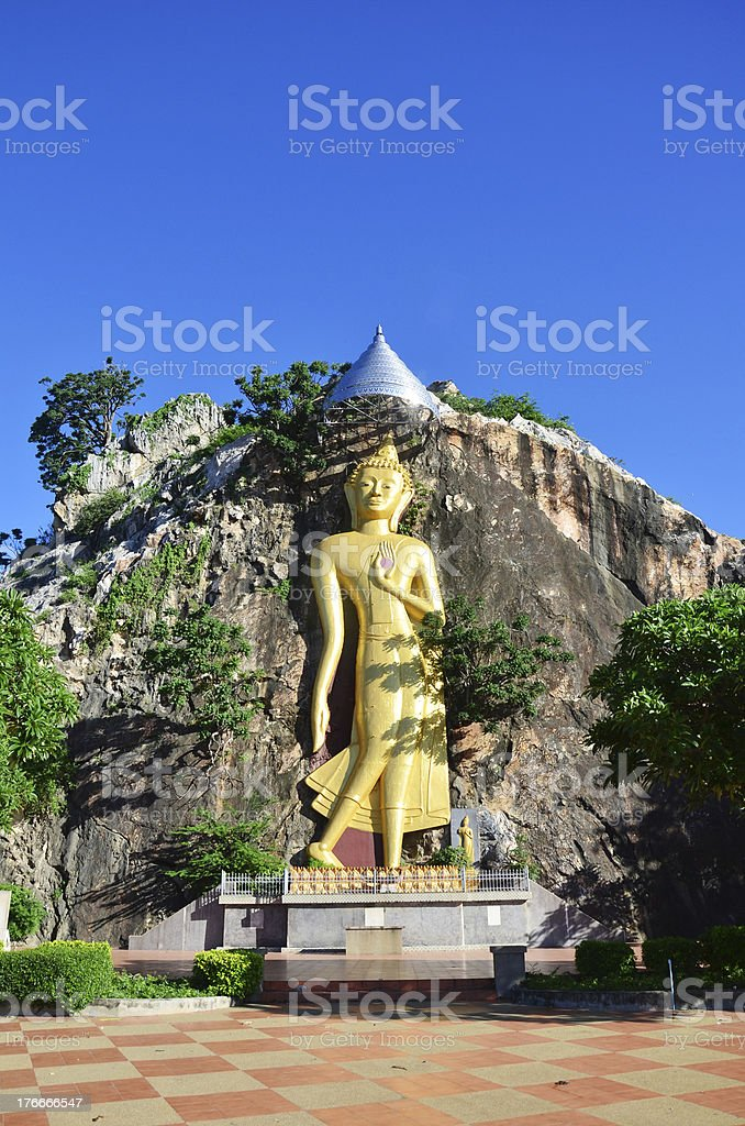 Buddha in cave  at Khao Ngoo Rock Park Ratchaburi Thailand royalty-free stock photo