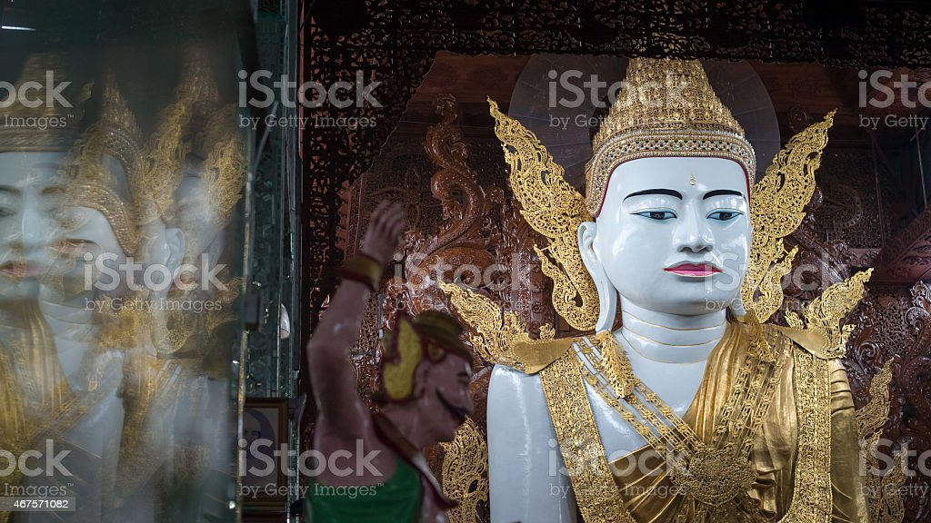 Buddha in Ngahtatkyi Pagoda Temple in Yangon, Myanmar (Burma) stock photo