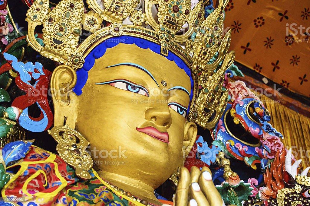 Buddha maitreya statue  close up in a monastery stock photo