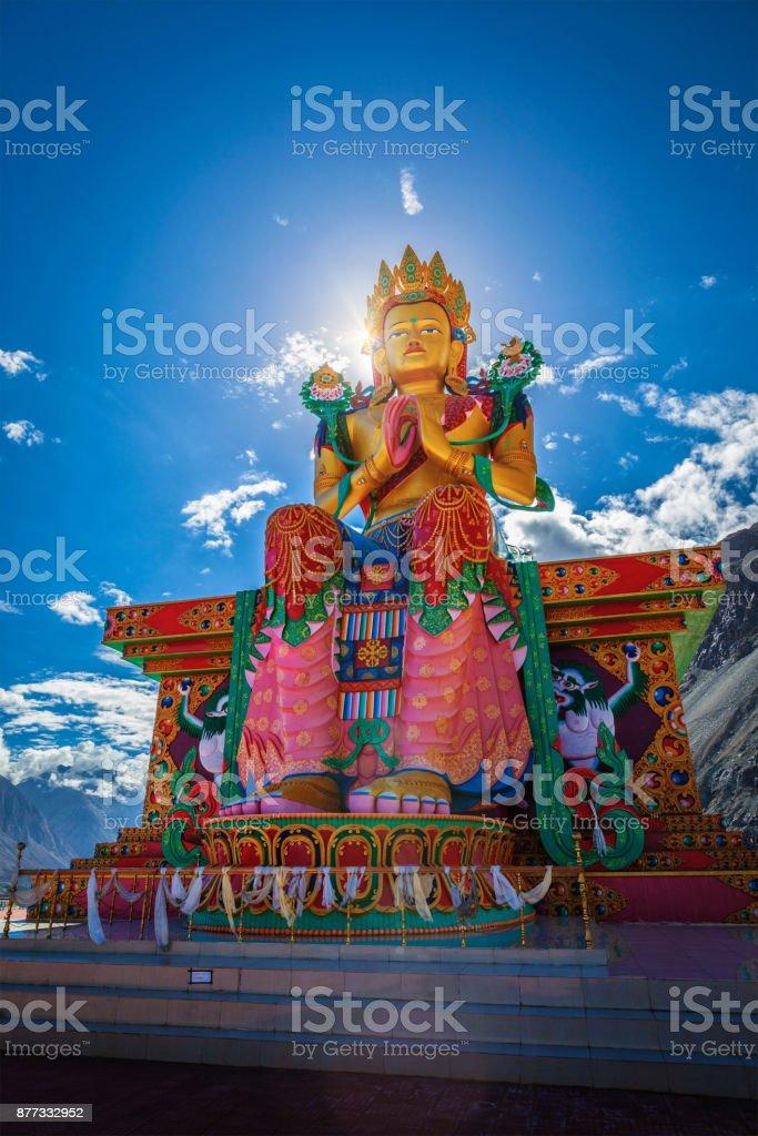 Buddha Maitreya statue in Diskit Gompa. Nubra Valley. Ladakh, In stock photo