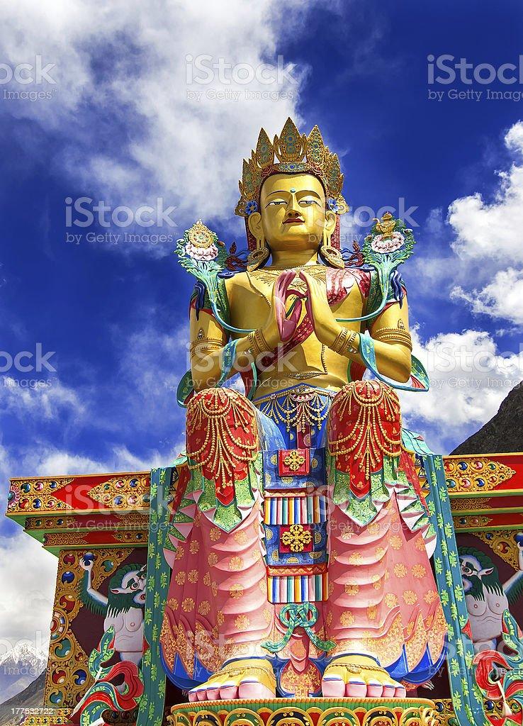 Buddha Maitreya Statue in Himalayas India stock photo