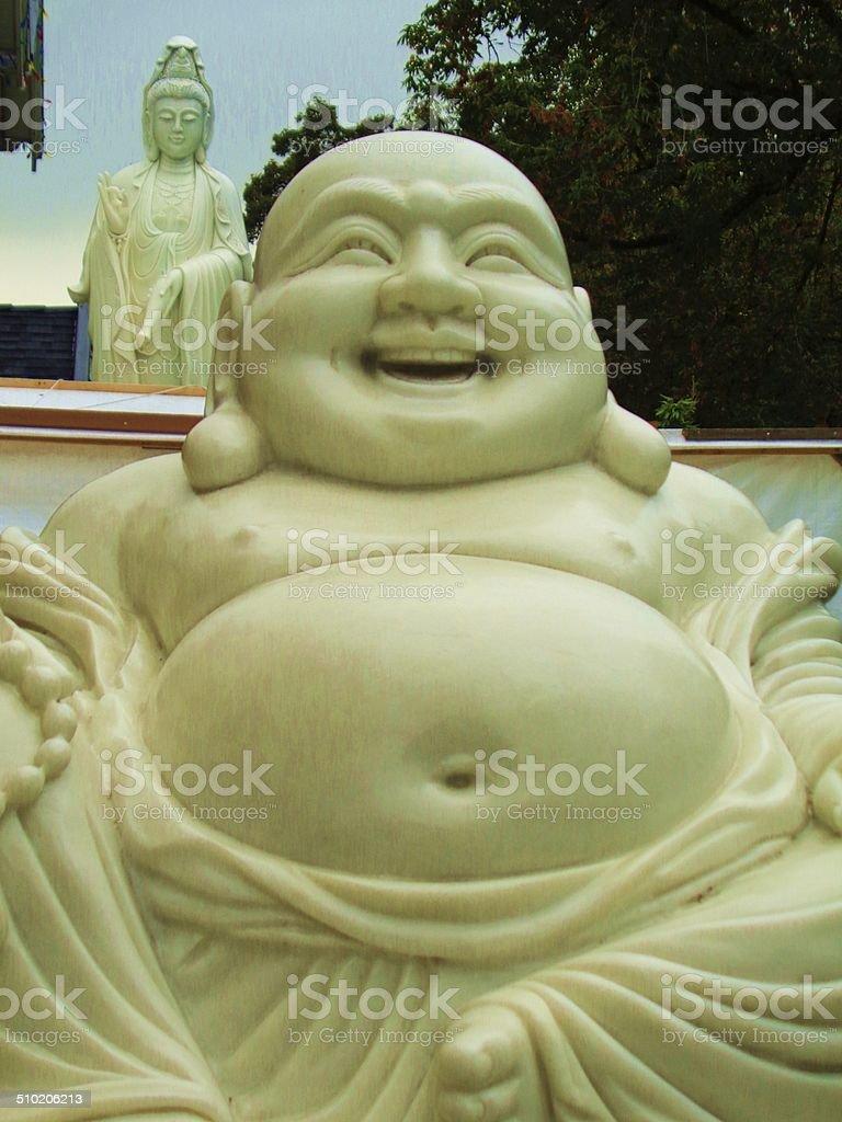 Buddha on Buddha's shoulder stock photo