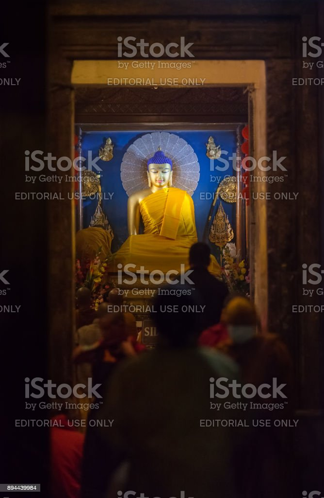 Buddha on Diamond throne in Mahabodhi Temple. stock photo