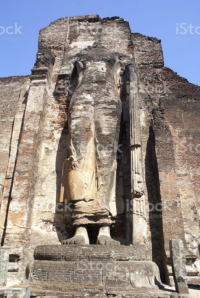 Buddha on the brick wall royalty-free stock photo