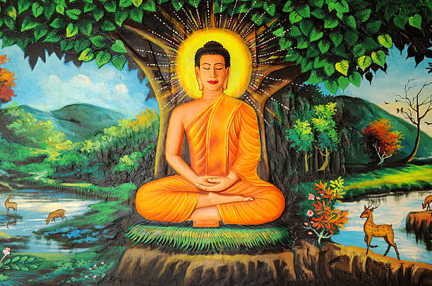 buddha painted image, cambodia - buddha stock photos and pictures