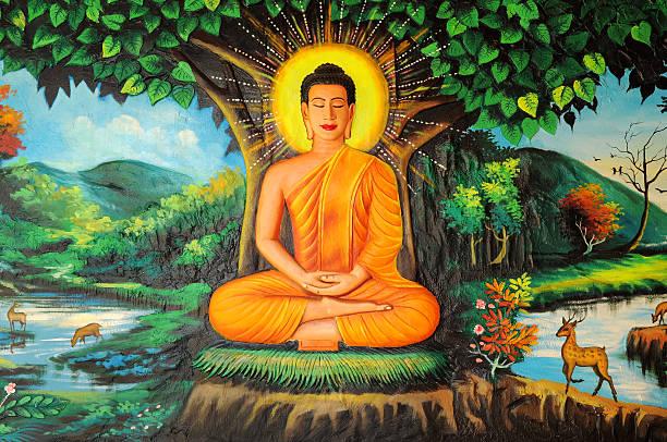 Buddha painted image, Cambodia stock photo