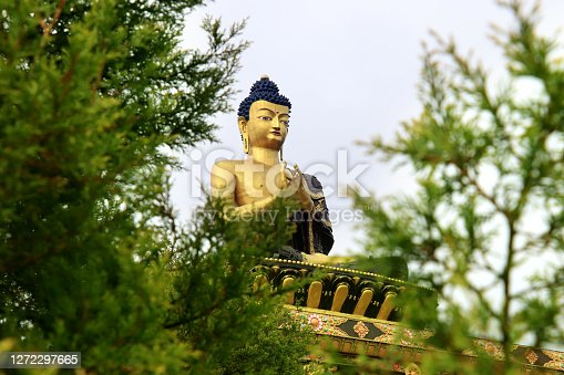 Buddha Park of Ravangla. Statue of Lord Buddha at Rabangla, Sikkim, India. Gautam Buddha statue in the Buddha Park of Ravangla in South Sikkim. Frame within a frame concept. Green leaves nature frame.