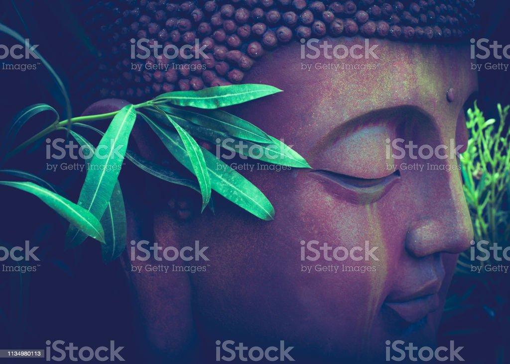 Boeddha portret sculptuur met groen blad in botanische tuin, close-up foto