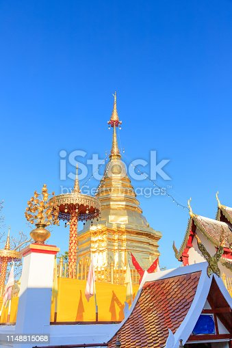 Buddha relic pagoda at Wat Phra That Doi Kham Temple, one of famous monastery in Chiang Mai.