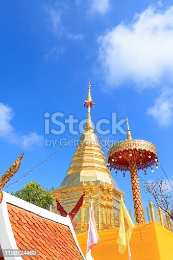 Chiang Mai, Thailand - November 19, 2018: Buddha relic pagoda at Wat Phra That Doi Kham Temple, one of famous monastery in province.