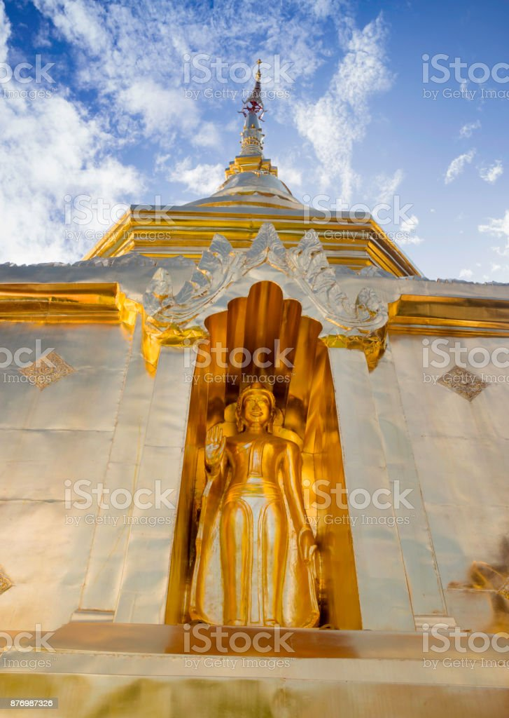 Buddha S tatue in Phra Singh Temple, Chiang Mai Thailand stock photo