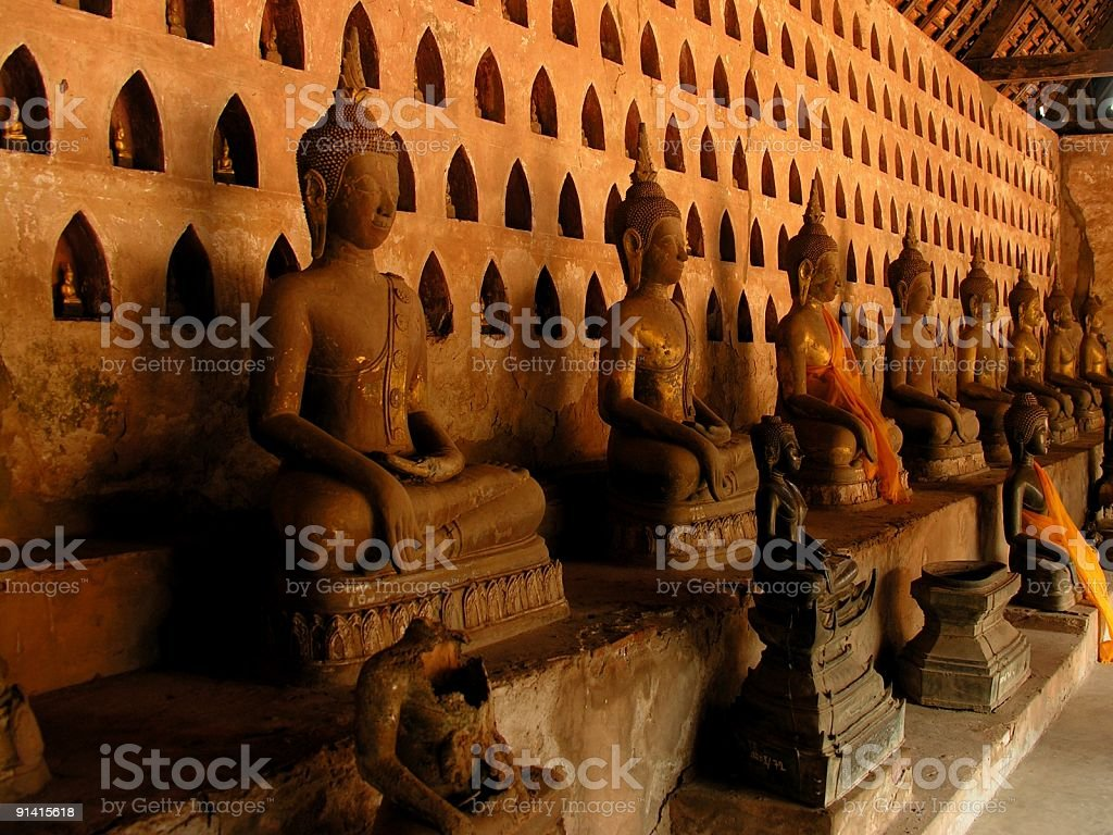 Buddha sculptures in Wat Si Saket royalty-free stock photo