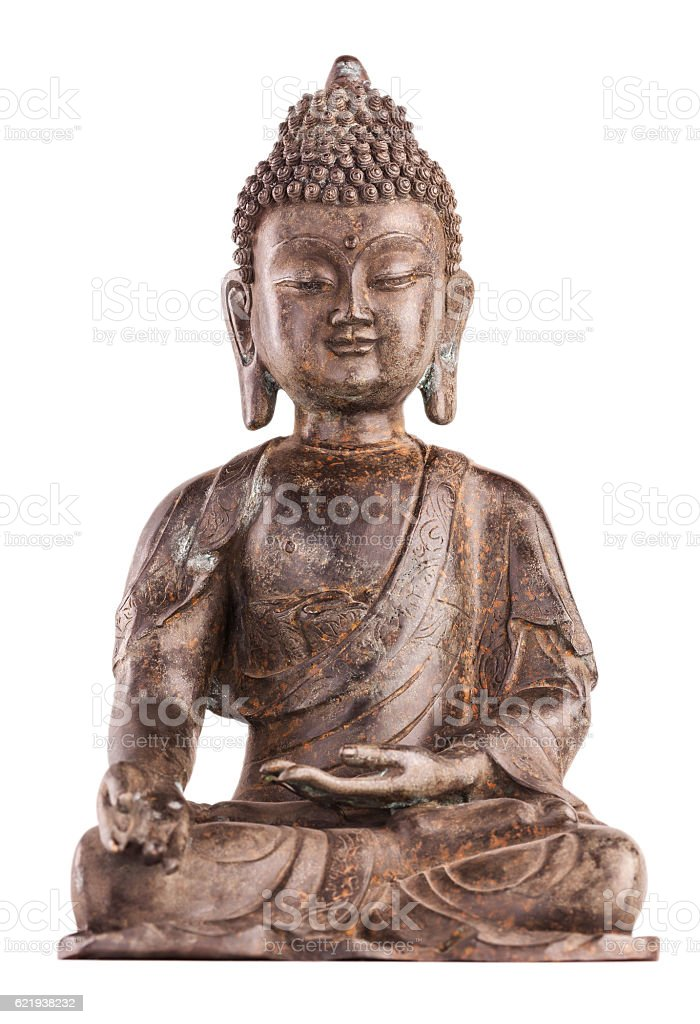 Buddha Shakyamuni's figure in varada mudra. stock photo