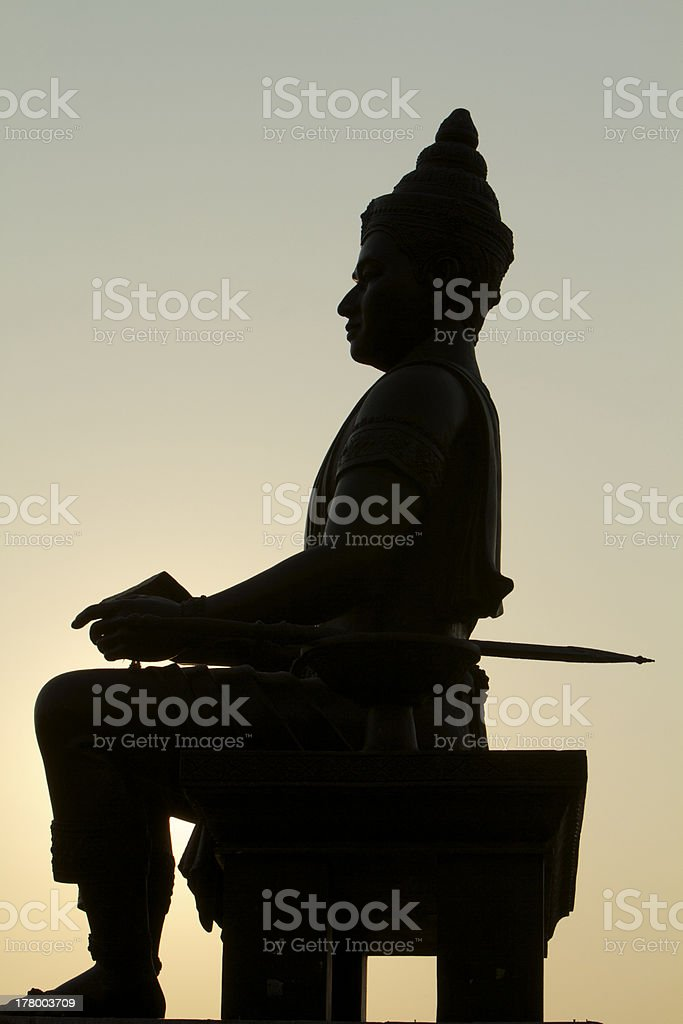 buddha silhouette and sunset royalty-free stock photo