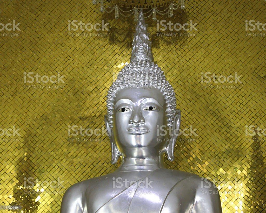 Buddha silver Status at temple of ayutthaya royalty-free stock photo