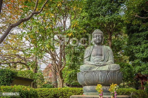 Tokyo, Japan - November 12, 2015: Buddha sitting on a lotus flower at the Sensoji Temple (Asakusa Kannon Temple) in the Asakusa district in Tokyo.  Buddha is Emblem of spirituality, and the place and the environment are very zen.