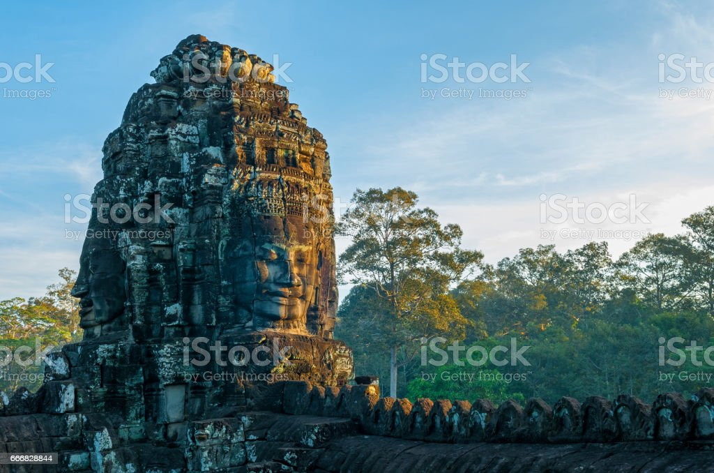 Buddha Smile at Sunrise stock photo