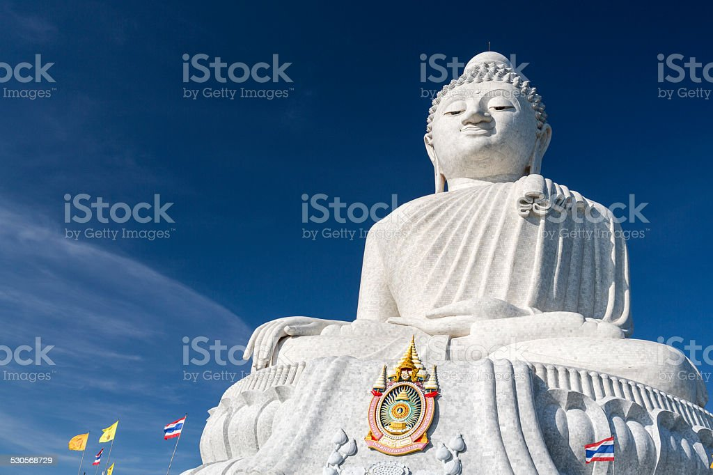 Buddha statue against blue sky in Phuket Thailand stock photo