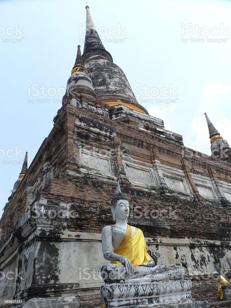 Buddha statue and stupa stock photo