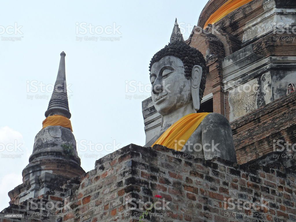 Buddha statue and stupas stock photo