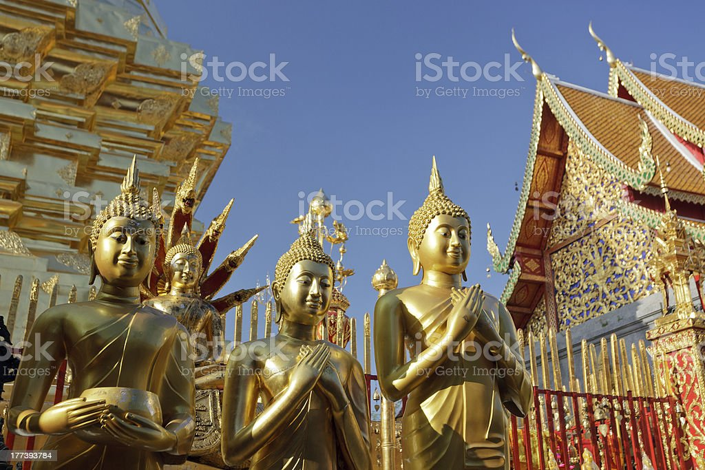 buddha statue and temple stock photo